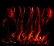 Flames. Fire flames on a black background royalty free stock photos