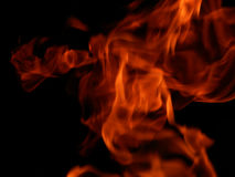 Flames of fire on a black background. Bright flame fire on a black background Stock Photo