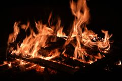 Flames from a fire on a black background Stock Photography
