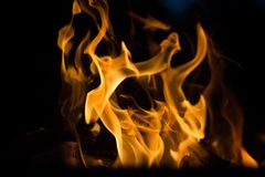 Flames of fire on black background. Fire rages in the dark. Bonfire at night. Flames are dancing royalty free stock image