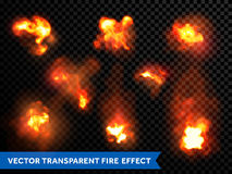 Flames fire burning explosion bursts transparent vector. Fire bursts and explosion set. Vector flaming and burning flames and outbursts. Fiery light flare burst Royalty Free Stock Photography