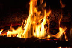 Flames. Fire burning wood to wood in the dark Stock Photo