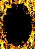 Flames of a fire in the dark Royalty Free Stock Photo