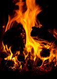 Flames. Of fire in a fireplace Stock Photos
