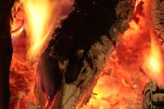 Flames of a fire fireplace royalty free stock image