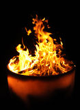 Flames in a fire pot Royalty Free Stock Images