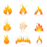 Flames and fire signs. And symbols Stock Photo