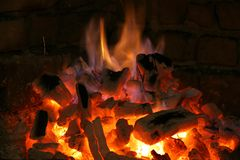Flames from a fireplace. Big flames from a fireplace Royalty Free Stock Image
