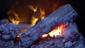 The flames in the fireplace stock video footage