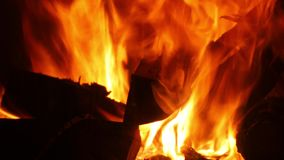 Flames of a fireplace stock video footage