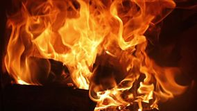 Flames of a fireplace stock footage
