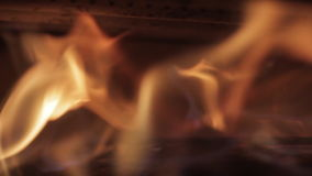Flames in a fireplace stock video footage