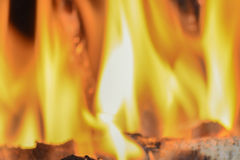 Flames at a fireplace  Stock Photography