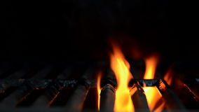 Flames Flicker on a Backyard Grill stock footage