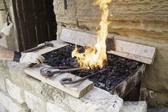 Flames in a forge Stock Images