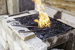 Flames in a forge Royalty Free Stock Photography