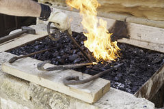 Flames in a forge Royalty Free Stock Photos