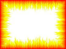 Flames frame. White background with colorful frame made of flames stock illustration