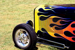 Flames on a front end of a classic hotrod. Displayed at a car show in California royalty free stock photos