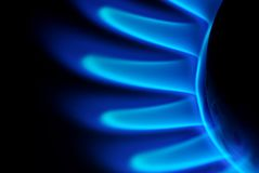 Flames of gas. Blue flames of gas stove in the dark Royalty Free Stock Photo