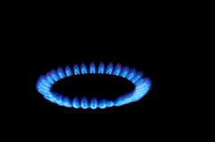 Flames of gas stove Royalty Free Stock Images