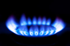 Flames of gas stove Royalty Free Stock Photo