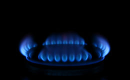 Flames from a gas stove Royalty Free Stock Image