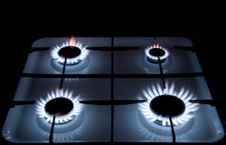 Flames of gas stove. Blue flames of gas stove Royalty Free Stock Images