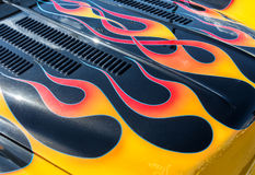 Flames on the hood Stock Photography