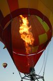 Flames from hot air balloon stock photo