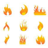 Flames icon set Stock Images