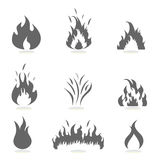 Flames icon set. Flame icon set in gray Royalty Free Stock Photography