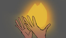 Flames, illustration. Hands with hot flames of fire, illustration Royalty Free Stock Photography