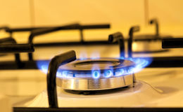 flames of a kitchen stove Stock Images