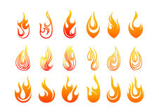 Flames logo design. Abstract flames logo design in a set  in white background Royalty Free Stock Images