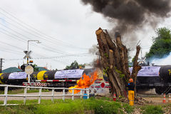 Flames near railroad tanker. Stock Photos