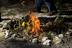 Free Flames Of Fire At Mayan Ceremony Royalty Free Stock Images - 161283879