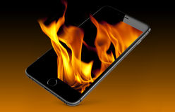 Fire out of phone screen Stock Photo