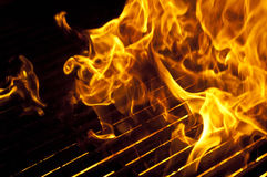 Flames over Grill Royalty Free Stock Photos