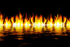 Flames over water. Illustration of a row of flames reflected in water Stock Photos