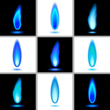 Flames - Set 1 - Blue Stock Photo