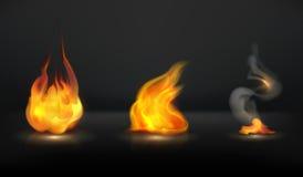 Flames set. Vintage illustration on a black background Royalty Free Stock Photo