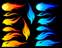 Flames Set. Set of different designs of flames in orange & blue. This set includes a design with a baseball on fire Stock Photos