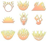 Flames shapes. Lots of flame style illustrated shapes Stock Image