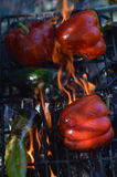 Flames smoke peppers on hibachi grill outdoors Stock Photography