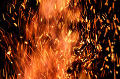 Flames and Sparks. Close up shot of flames and sparks Royalty Free Stock Photo