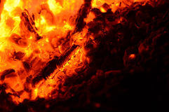 Flames and sparks of a fire as the background Stock Images