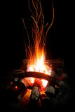 Flames and sparks of wood fire Royalty Free Stock Photos