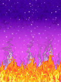 Flames in a starry night. Painting of fire against a night sky vector illustration