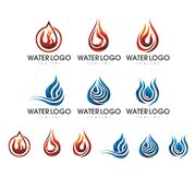 FLAMES WATER LOGO DESIGN SET 2. Water shape combinate with flames shape in several variation logo Stock Image